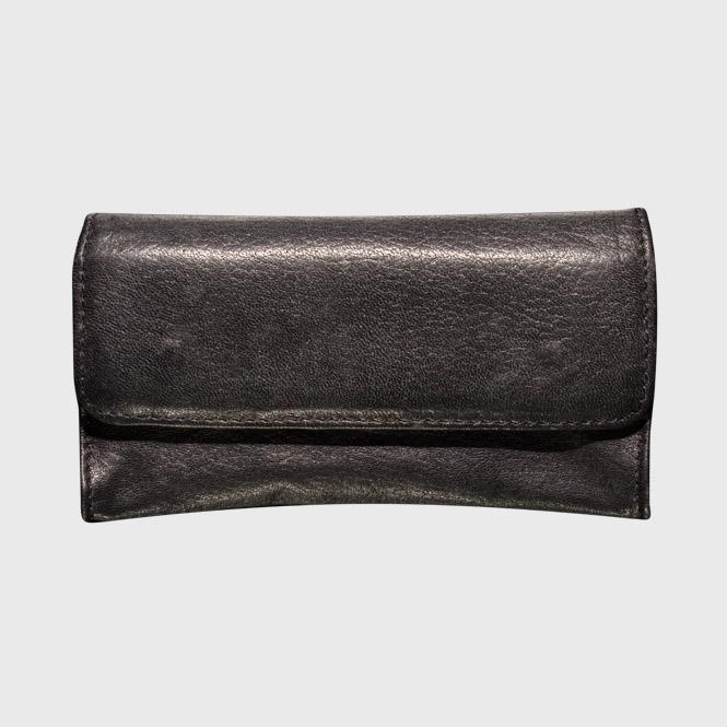 Schwarze Ledertabaktasche